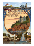 Acadia National Park, Maine - Guardians of Acadia Lighthouses Posters by  Lantern Press
