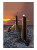 Lantern Press - Submarine and Sunset - Reprodüksiyon