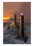 Submarine and Sunset Láminas por Lantern Press