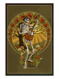Skeleton and Guitar Poster af Lantern Press
