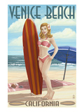 Venice Beach, California - Pinup Surfer Girl Prints by Lantern Press