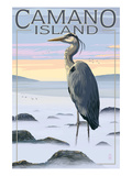 Camano Island, Washington - Blue Heron and Fog Posters by  Lantern Press