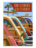 San Clemente, California - Woodies Lined Up Posters by Lantern Press