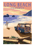 Long Beach, California - Woody on Beach Prints by  Lantern Press