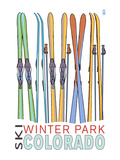 Winter Park, Colorado - Skis in Snow Art by  Lantern Press