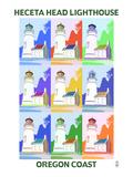 Oregon Coast - Heceta Head Lighthouse Pop Art Posters by  Lantern Press