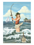 Pinup Girl Surf Fishing Poster by  Lantern Press
