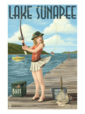 Lake Sunapee, New Hampshire - Pinup Girl Fishing Prints by  Lantern Press