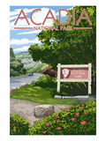 Acadia National Park, Maine - Park Entrance Sign and Moose Art by  Lantern Press