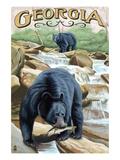 Georgia - Black Bears Fishing Posters by  Lantern Press