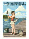 Lake Winnipesaukee, New Hampshire - Pinup Girl Fishing Posters by Lantern Press