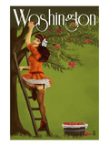 Washington - Pinup Girl Apples Posters by  Lantern Press