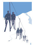 Skiers on Lift Posters by Lantern Press