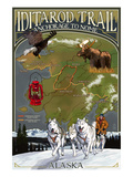 Iditarod Trail Topographic Map - Alaska Prints by  Lantern Press