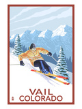 Vail, CO - Vail Downhill Skier Print by  Lantern Press