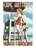 Cape Hatteras, North Carolina - Lifeguard Pinup Girl Art by  Lantern Press