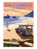 San Clemente, California - Woody on Beach Posters by  Lantern Press