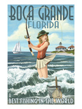 Boca Grande, Florida - Pinup Girl Fishing Art by  Lantern Press