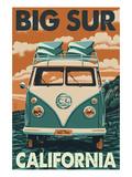 Big Sur, California - VW Van Blockprint アート : ランターン・プレス