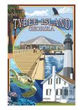 Tybee Island, Georgia - Montage Poster by  Lantern Press