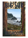 Big Sur, California - Trees and Ocean Scene Prints by  Lantern Press