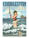 Charleston, South Carolina - Pinup Girl Surf Fishing Art by Lantern Press