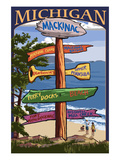Mackinac, Michigan - Sign Destinations Art by  Lantern Press