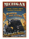 Michigan - Black Bears and Fall Colors Posters by Lantern Press 