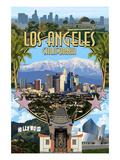 Los Angeles, California - Montage Poster von  Lantern Press
