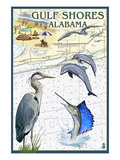 Gulf Shores, Alabama - Nautical Chart Prints by  Lantern Press