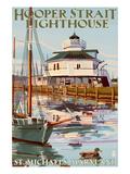 Hooper Strait Lighthouse - St. Michaels, MD Reproduction giclée Premium par  Lantern Press