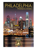 Philadelphia, Pennsylvania - Skyline at Night Art by  Lantern Press