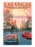 Las Vegas Old Strip Scene Póster por  Lantern Press