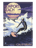 Newport Beach, California - Night Surfer Print by Lantern Press 