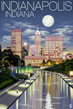 Indianapolis, Indiana - Indianapolis at Night Prints by Lantern Press 