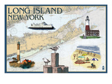 Long Island, New York - Nautical Chart Prints by  Lantern Press