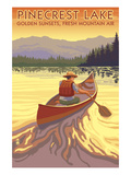 Pinecrest Lake, California - Canoe Scene Print by Lantern Press