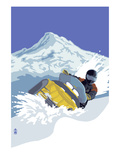 Lantern Press - Snowmobile - Poster