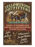 Yellowstone National Park - Moose Outfitters Print by  Lantern Press