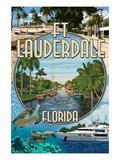 Ft. Lauderdale, Florida - Montage Prints by  Lantern Press