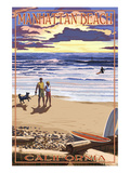 Manhattan Beach, California - Sunset Beach Scene Art by  Lantern Press