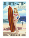 Huntington Beach, California - Pinup Surfer Girl Prints by  Lantern Press