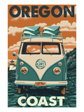 Oregon Coast - VW Van Print by Lantern Press
