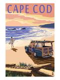 Cape Cod, Massachusetts - Woody on Beach Reproduction giclée Premium par  Lantern Press