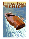 Portage Lakes, Ohio - Wooden Boat Scene Poster by  Lantern Press