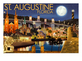 St. Augustine, Florida - Night Scene Print by  Lantern Press
