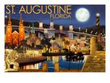 St. Augustine, Florida - Night Scene Print by  Lantern Press
