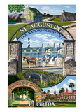 St. Augustine, Florida - Montage Scenes Art by  Lantern Press