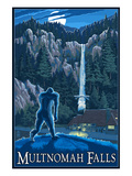 Multnomah Falls, Oregon - Bigfoot Lámina por  Lantern Press