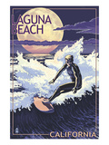 Laguna Beach, California - Night Surfer Posters by Lantern Press 